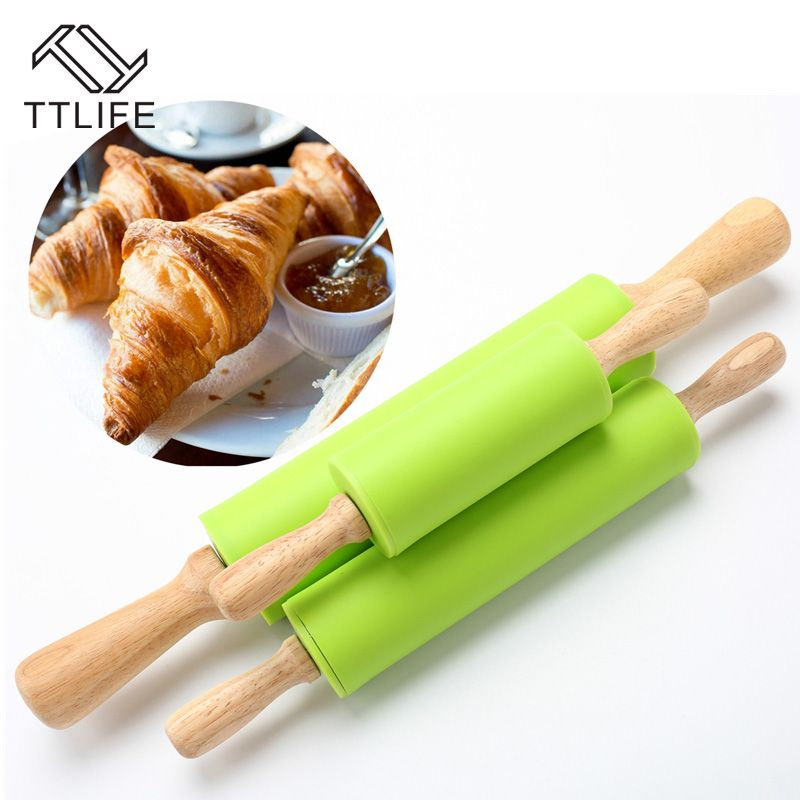 TTLIFE High Quality Wood Handle Green Silicone Rolling Pins Cake Dough Roller Decorating Cake Roller Crafts Baking Cooking Tool