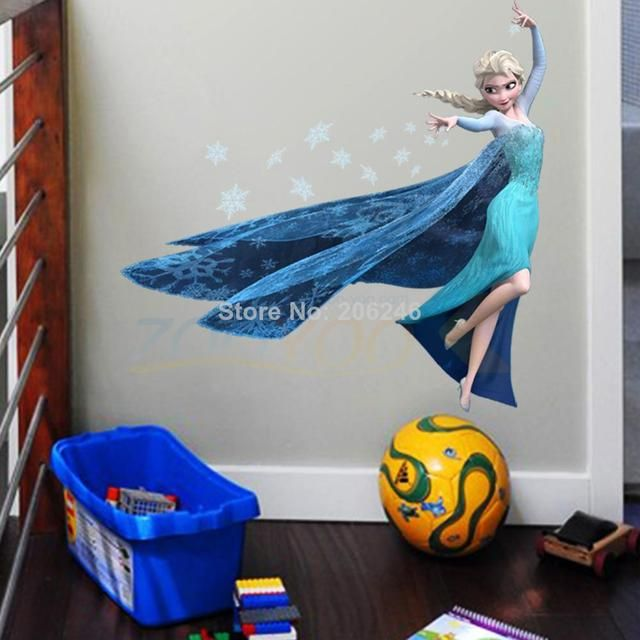 anna elsa olaf queen princess movie decals removable cartoon wall stickers kids room home decorations diy 1418. nursery posters