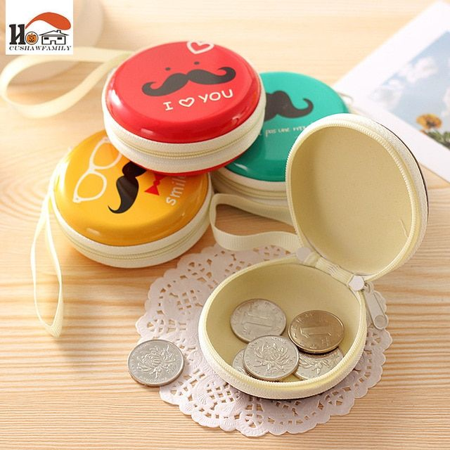 CUSHOWWFAMILY Mr Beard scale iron round tin Storage Box for Jewelry, Small Thing Organizer Storage Boxs zero wallet/earphone box