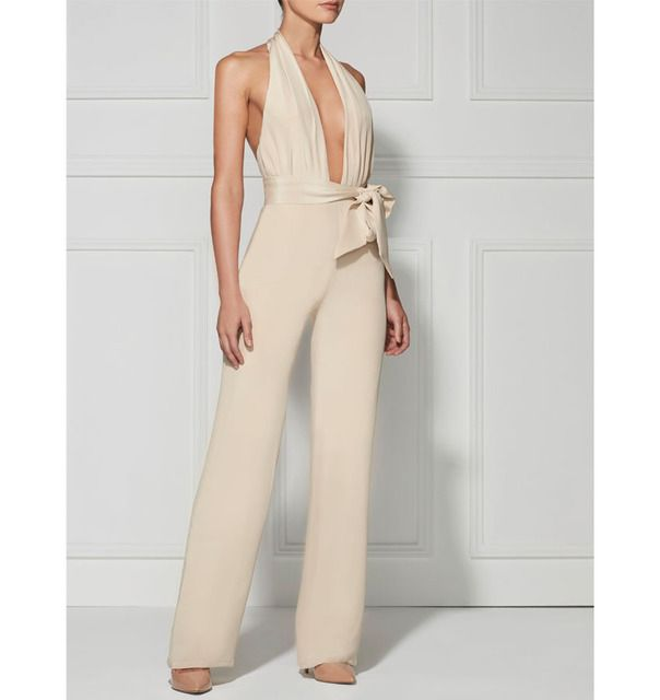 backless halter neck sexy women jumpsuit with a belt