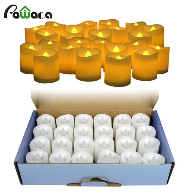 24pcs/lot Battery Operated Flickering Light Flameless LED Tealight Tea Candles Holiday Party Wedding Home Decorative Light
