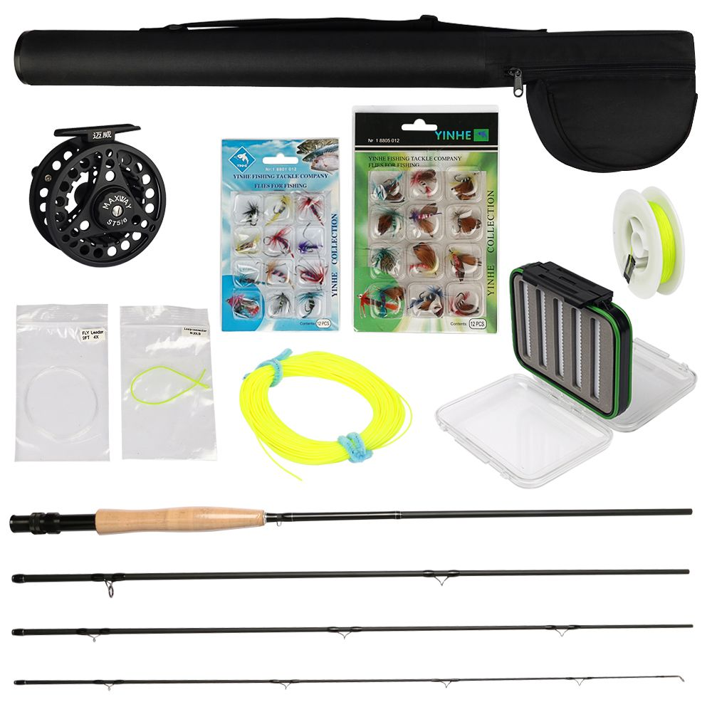 MAXWAY 3/4 5/6 7/8 Fly Fishing Reel + 2.7M Carbon Fly Fishing Rod + Fake Lure + Braid Line + Connector Fishing Combo Set Tackle