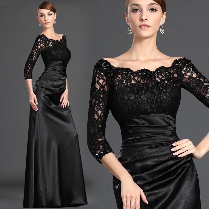 New Elegant Lace Stain Party Prom Dress Plus Size Mother of The Bride Dresses Black Dinner Banquet Long Evening Dress