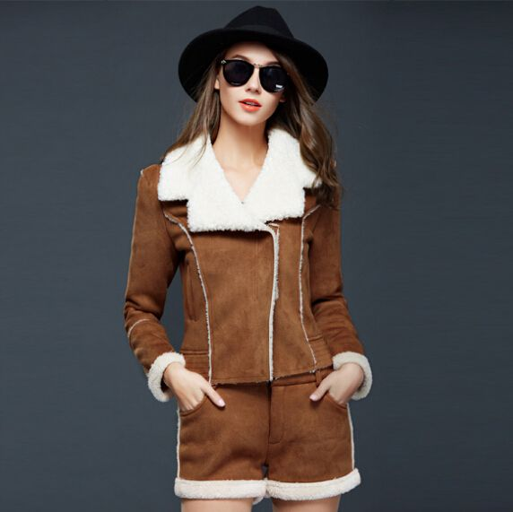 2017 fall and winter women's lambs wool Slim coat thick suede chaps long-sleeved jacket short jacket + spell suit female's sets