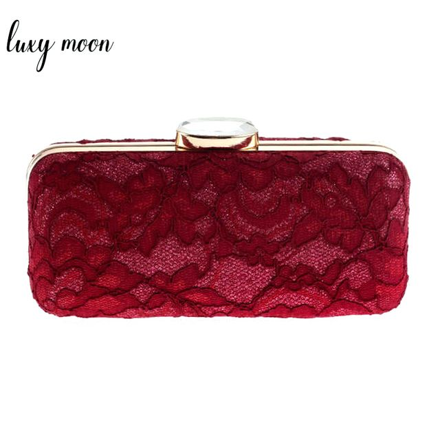 Luxy Moon New Hollow Out Lace Evening Bags Elegant Diamond Clutch Bag Red White Women Purse with chains handbags shoulder bag