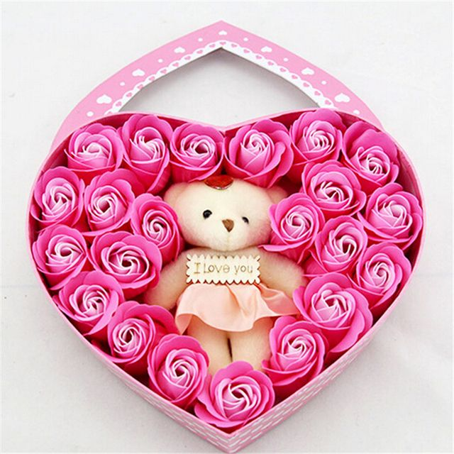 Sweet Heart-shaped Soap Flower Little Bear Gift Box Roses Fragrance Party Favors Romantic Valentine's Day Surprise Free ship