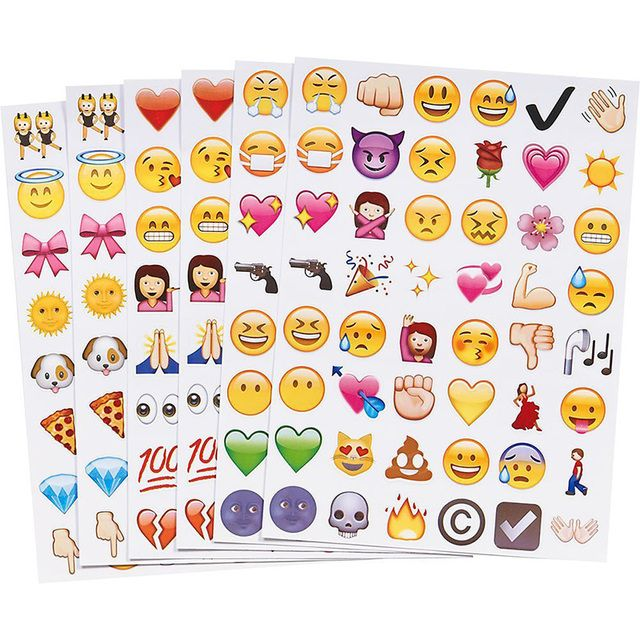 19 Sheets 912 Die Funny Kawaii Emoji Stickers Smile Laptop Phone Sticker for Notebook Youtube Decoration Kids Toys for Children