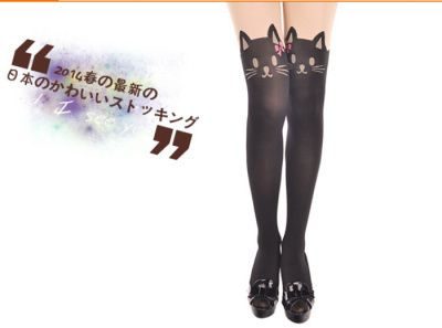 New style 2015 Cat Tail Patchwork Totoro Velvet Tattoo Women Tights Vintage Stockings Pantyhose Harajuk Transparent Sexy