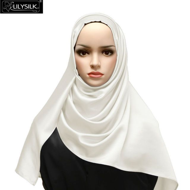 Lilysilk 100% Pure Silk Scarves Square Pure Hijab Plain Bandanas Women High Fashion 2017 Elegant Luxury Brand Cover Up Muslim