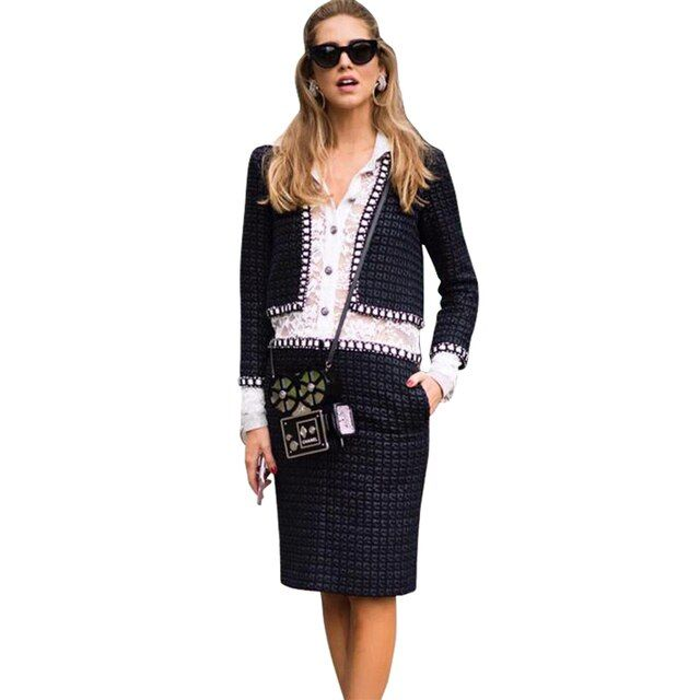 cc brand designer style white lace black wool tweed womens winter dress office wear braid trims long sleeve knee high work dress