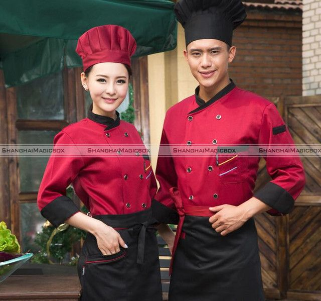 Kitchen Cooker 3/4 Sleeve Working Uniform Coat Chef Waitress Waiter Jacket 40116803