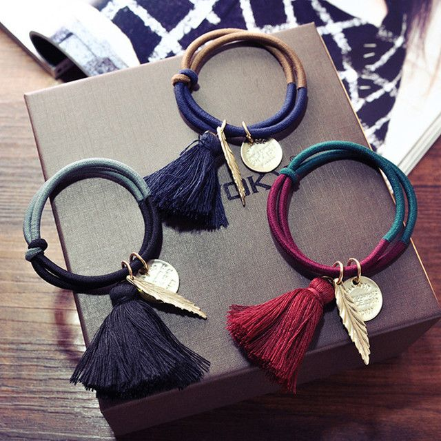 Vintage Tassel Gold Leaves Hairband Elastic Hair Band For Female Women's Multiple Use Hair Ring Rope Hair Accessorie Bracelet