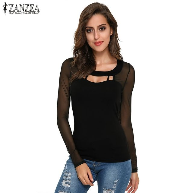 ZANZEA Women Blouses 2018 Autumn Black Tops Long Sleeve O Neck Sexy Hollow Out Patchwork Mesh Shirts Blusas Hot Sale