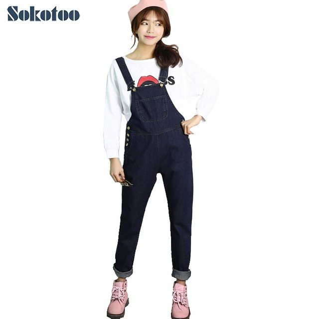 New arrival Women's chic loose plus large size denim overalls Lady's cute jumpsuits Long pants Jeans