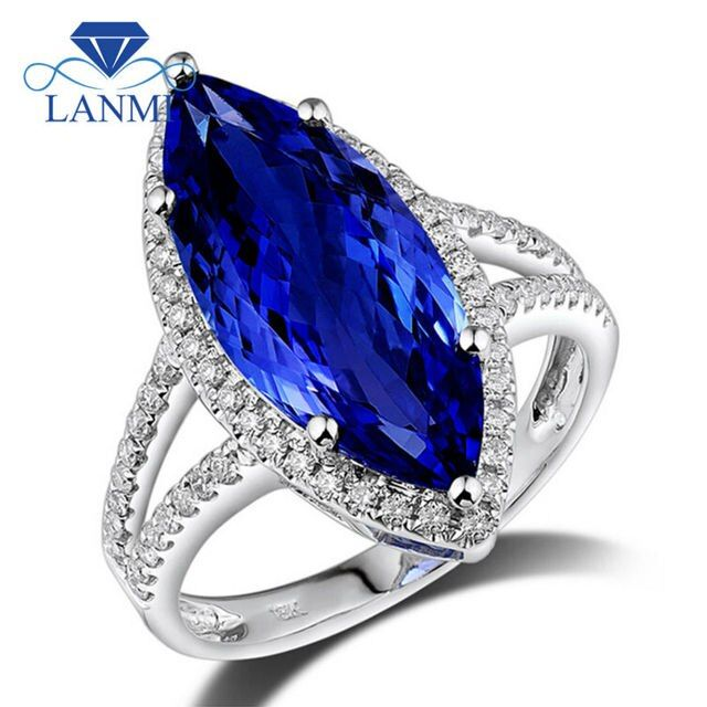 Party Hyperbole Rings Jewelry New Fashion Marquise 8x18mm 100% Natural Stone Tanzanite Ring White Gold 18K Women Engagement Ring