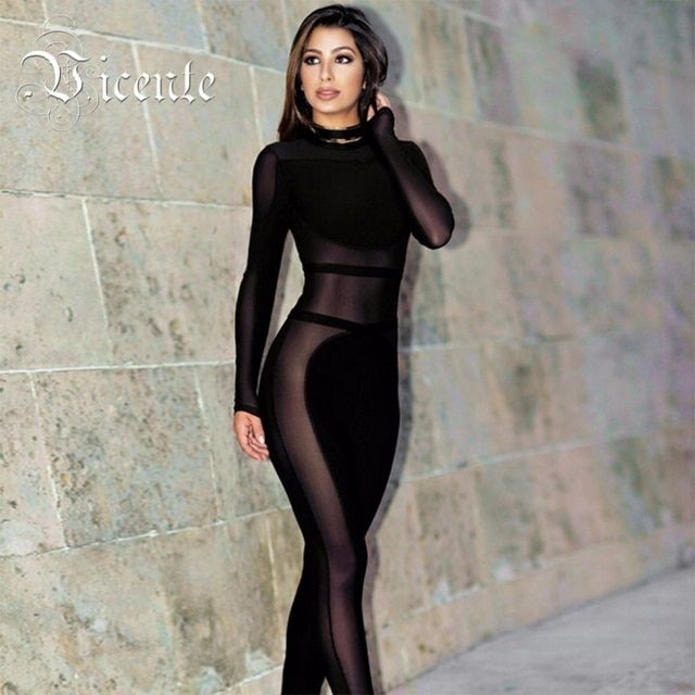 Free Shipping 2017 New Chic Sexy Inspired Mesh Patchwork Women Celebrity Party Bodysuit Wholesale Bandage Jumpsuit
