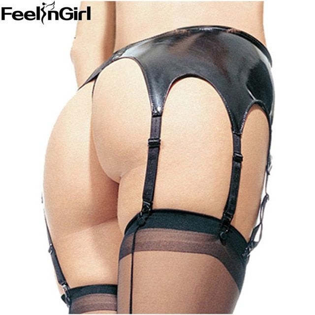 FeelinGirl Women Hot Sexy Black Faux Leather Garter Belt Suspender Latex 6 Strap Garter Belt -E Women Sexy Underwear