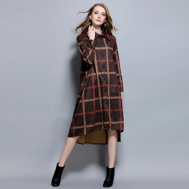 New 2016Autumn winter Women wool blended long trench coat plaid long cardigan shirt OutWear plus size casual overcoat XXXXL 6235
