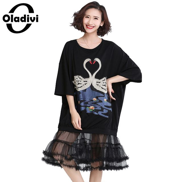 Oladivi Plus Size Women Apparel 2017 Summer Style Fashion Mesh Embroidered Tshirts Ladies Casual Loose Tops Tees Tunics Vestidos