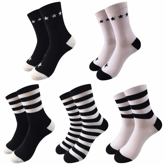 5Pair Fashion Colorful Striped Women Socks Female Casual In Tube Cotton Socks Ladies Winter Thick Warm Socks Women Happy Sox