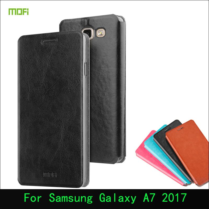 "For Samsung Galaxy A7 2017 5.7"" Case Original Mofi PU Leather Stand Mobile Phone Cover Case For Samsung A7 2017 Cell Phone Cover"