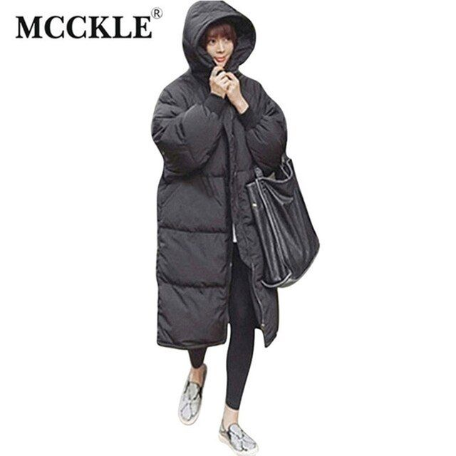 MCCKLE 2017 Winter Warm Womans Parkas Black Oversized Hood Female Overcoat High Quality Long Coat Jacket New Winter Collection
