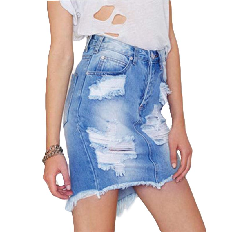 Summer Fashion Faded Blue Denim Skirt Ripped Fringe Jean Skirt With Holes High Waist Mini Short Skirt With Pockets Women