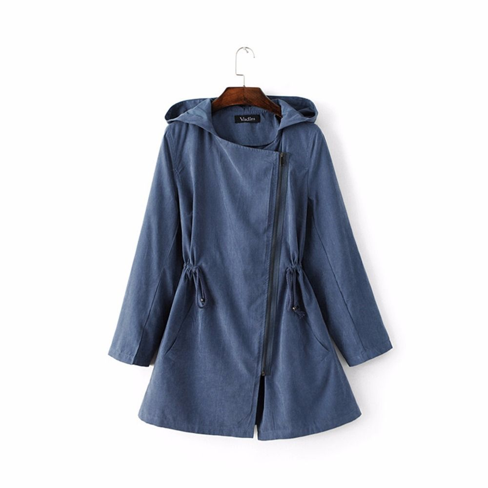 Women hooded long trench casual loose long sleeve solid coats adjustable waist casaco female streetwear tops zanja CT1255