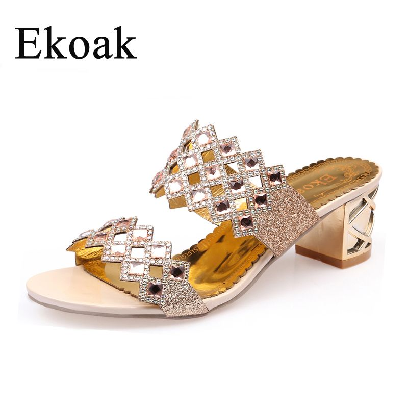 Ekoak 2018 Hot Fashion rhinestone cut-outs party women high heel sandals ladies summer shoes woman sandals Size 36-41