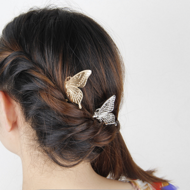 2Pcs Retro Lady Metal Butterfly Hair Combs Fashion Elegant Headwear Hairpins for Women Girl Wedding Decorations Accessories 2017