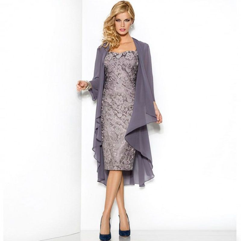 Slim Sheath Grey Mother Of The Bride Dress Lace Knee Length With Jacket Coat Formal Dress For Mom Vestido De Madrinha