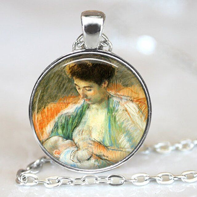 "2016 New ""Mother Rose Nursing her Baby"" Pendant Necklace Breast Feeding vintage Jewelry Mother and Child Colares Femininos"