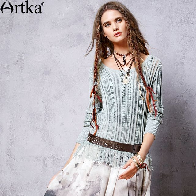 Artka Women's Spring New Vintage Casual Solid Color All-match Hollow Knitwear O-neck Long Sleeve Pullover Knitwear YB11365C