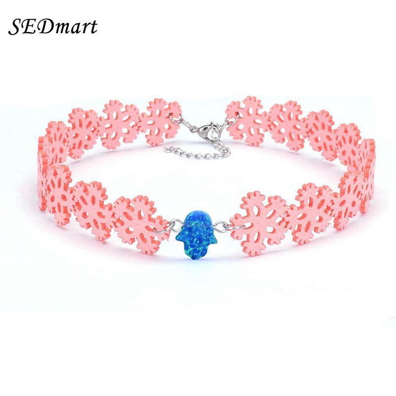 SEDmart Pink Snowflake Velvet Blue Fire Opal Hamsa Charm Chokers Necklace Candy Color Fatima Hand Gem Pendant Choker Necklaces