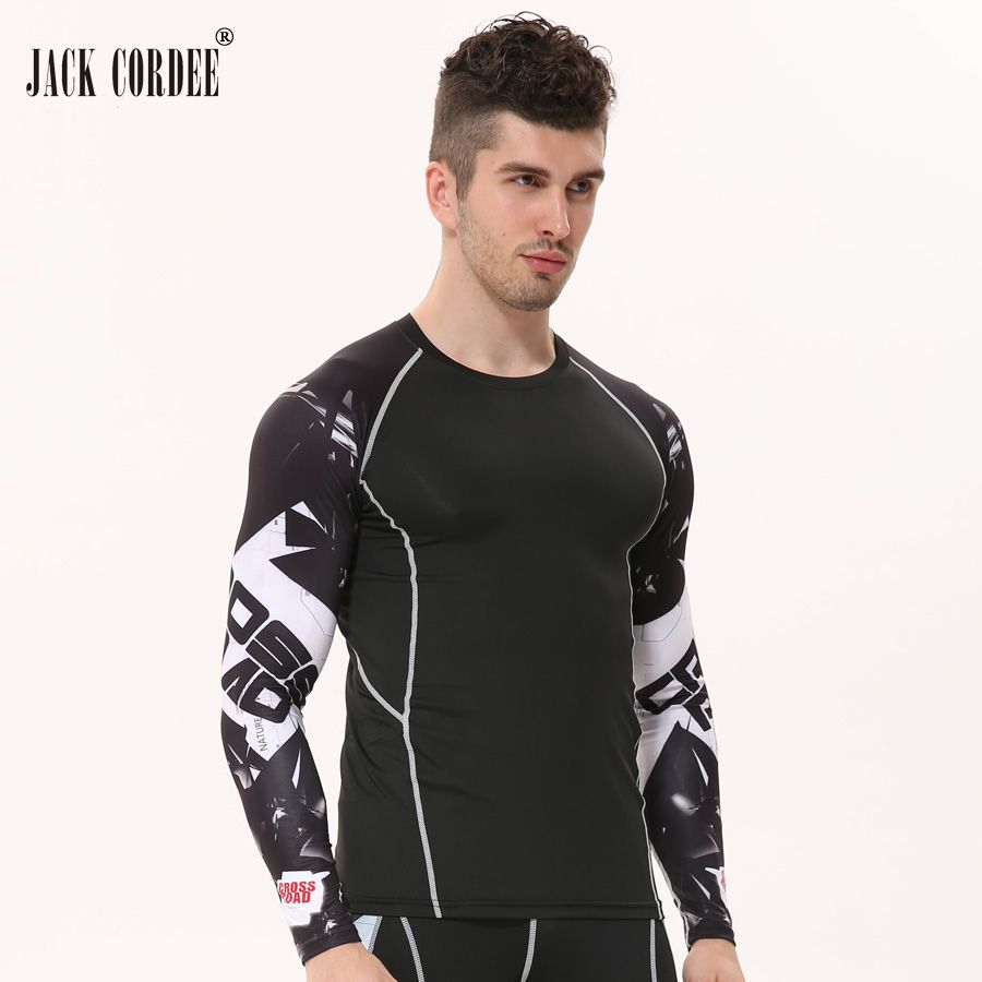 MMA Compression Shirt Men 3D Prints Skin Long Sleeves T Shirt Gyms Bodybuilding Skin Tight Tee Casual Fitness T-shirt Rashguard