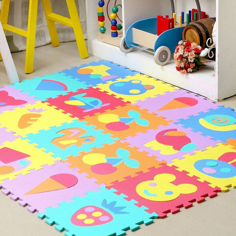 9pcs/lot baby play mat cartoon eva foam puzzle mat children jigsaw educational playmat animals play mats for baby