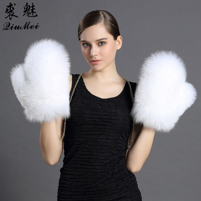 Women's Fox Fur Gloves&Mittens Female Gloves Lined New  Genuine Leather Glove Russian Removable Chain Fox Fur White Glove Winter