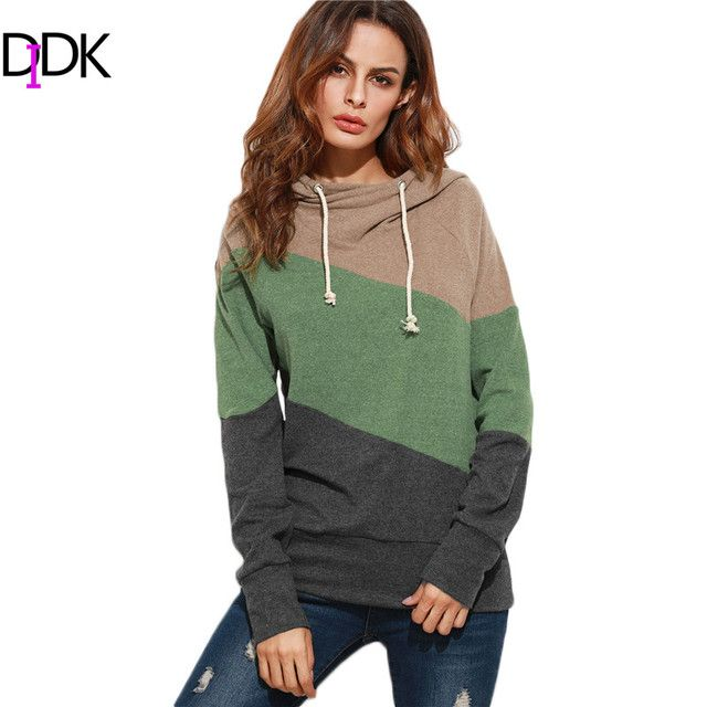 DIDK Multicolor Streetwear Women Hoodies Sweatshirts Winter Ladies Color Block Raglan Sleeve Casual Hooded Sweatshirt