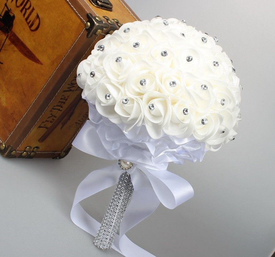 Beautiful White Ivory Bridal Bridesmaid Flower wedding bouquet artificial flower rose bouquet Crystal bridal bouquets