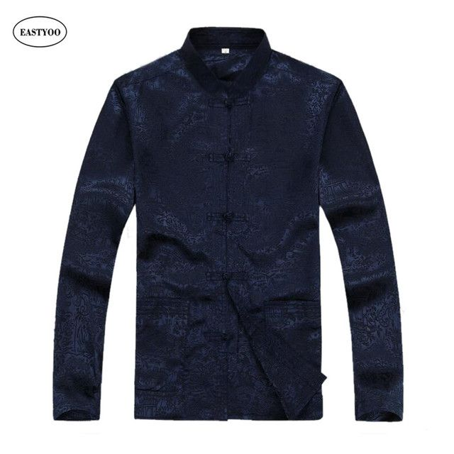 Chinese Men Shirt Silk Flora Print Casual Shirt Long Sleeve Mandarin Collar Dress Shirts Plus Size Chinese Traditional Tops