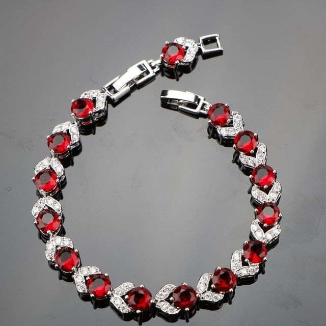 Round Length 18+2CM Red Garnet 925 Sterling Silver Bracelets For Women Excellent Sterling Silver Jewelry Free Gift Box