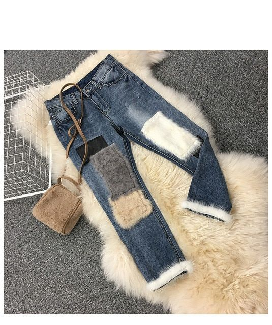 Women Denim Jeans Pants Fur Ankle-length Trousers Woman Jean Pant Ladies Clothing
