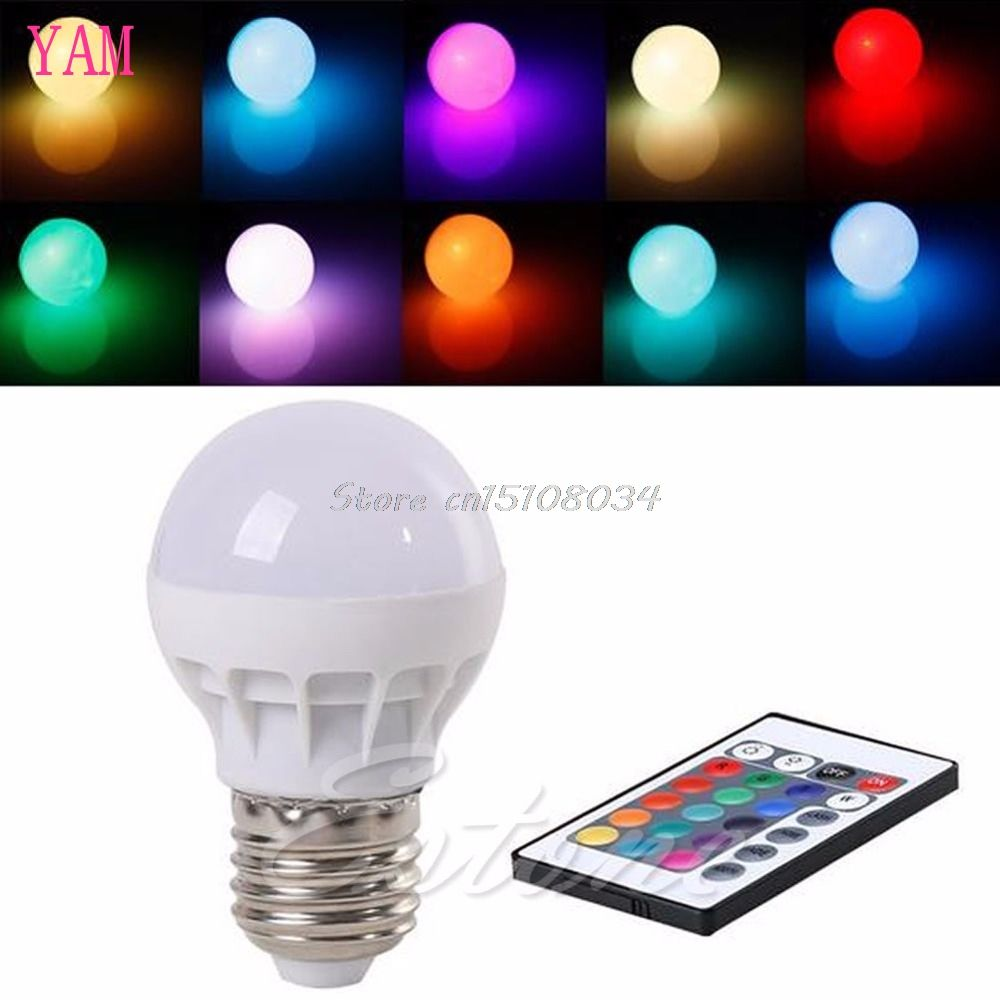 3W E27 AC 85-265V RGB LED Light Bulb Lamp Color Changing+IR Remote Control S08 Wholesale&DropShip