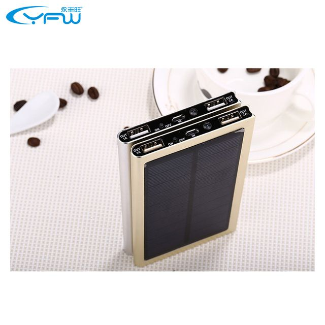 Portable Solar Charger Power bank Ultra Thin Aluminum Alloy 10000 mah External Battery Charging Treasure for Smart Phone