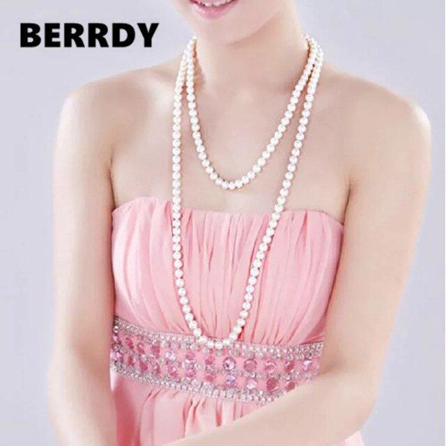 FREE SHIPPING Long Sweater Jewelry Winter/Spring/Summer/Autumn Pearl Necklace Knotted Costume Jewellery Cheap on Sale!!!