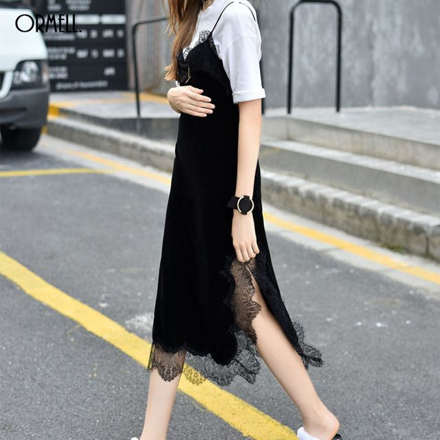 ORMELL Velvet Split Lace Dress Women Autumn Winter Fringe Dress Elegant Black Casual Long Dresses 2016 Vestidos
