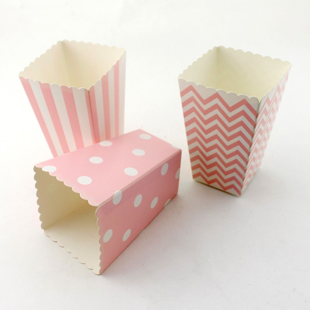 Wedding Decor Supplies Mini Popcorn Boxes Chevron Dot Striped Candy Buffet Favor Party Paper Loot Bags