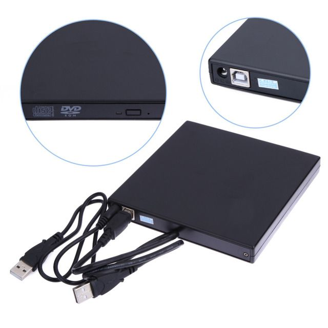2017 Hot Sale USB 2.0 External DVD ROM Player Reader Combo CD-RW Burner Drive for PC High Quality