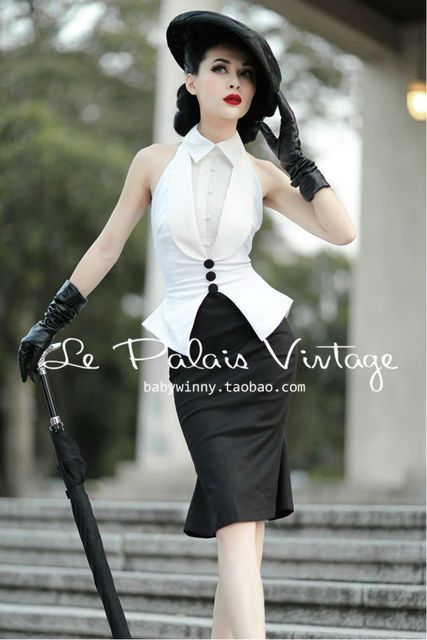 FREE SHIPPING Le Palais Vintage 50's Black And White Elegant Self-Cultivation Halter Fishtail High Quality Women's Sets