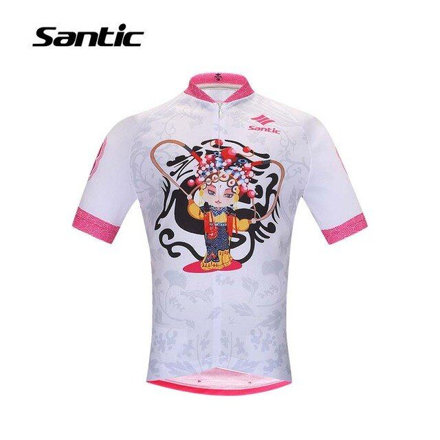 Santic Girls Cycling Jersey Summer Short Sleeve Road Bike Jersey Shirt Cartoon Printed Comfortable Bicycle Jersey Fietskleding